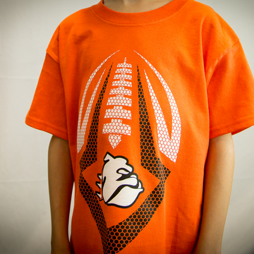 Adult & Youth Orange Bulldog Football Tee