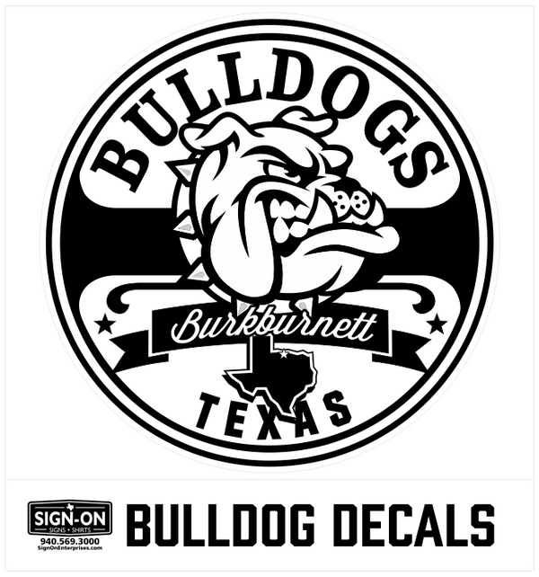 Bulldogs Burkburnett Texas Round Decal