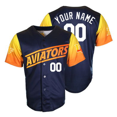 Men's Las Vegas Aviators OT Sports Home Alternate Blue/Gradient Custom Replica Jersey
