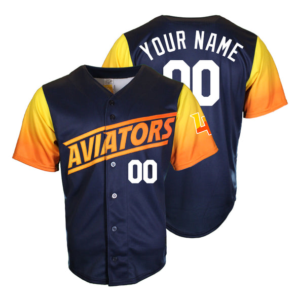 Men's Las Vegas Aviators OT Sports Home ALT Replica Blue/Gradient Custom Jersey