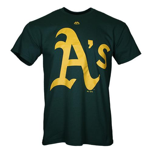 Men's Oakland Athletics Majestic Official Logo Green Cotton Short Sleeve T-Shirt