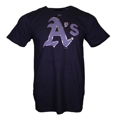 Men's Oakland Athletics Majestic A's Game Day Battle Black Short Sleeve T-Shirt