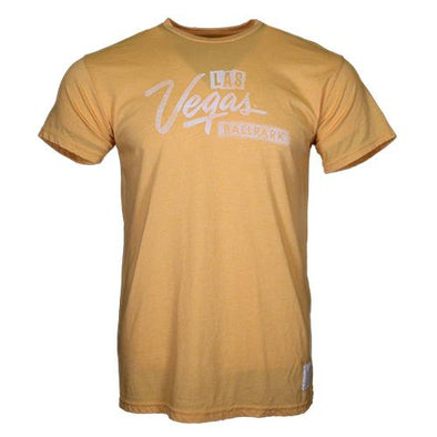 Men's Las Vegas Aviators Retro Brand Las Vegas Ballpark Logo Gold Mock Twist Blend Short Sleeve T-Shirt