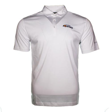 Men's Las Vegas Aviators Columbia Wordmark White Omni-Wick Short Sleeve Polo