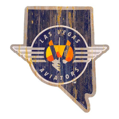 Las Vegas Aviators Wincraft Retro Logo State Wood Sign