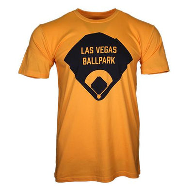 Men's Las Vegas Aviators Vegas Apparel Las Vegas Ballpark Diamond Gold Cotton Short Sleeve T-Shirt