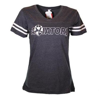 Women's Las Vegas Aviators LAT Apparel Aviators Lettering Sporty Navy Blend Short Sleeve T-Shirt
