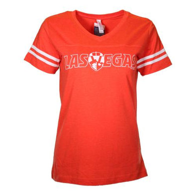Women's Las Vegas Aviators LAT Apparel Las Vegas Lettering Sporty Orange Blend Short Sleeve T-Shirt