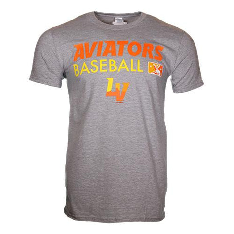 Men's Las Vegas Aviators Gildan Aviators Baseball MiLB LV Gray/Orange Cotton Short Sleeve T-Shirt