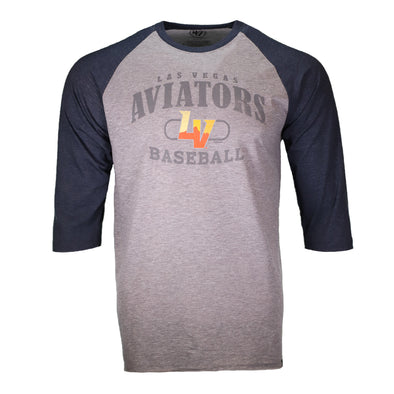 Men's Las Vegas Aviators '47 Brand LVAB Match Gray/Navy Raglan 3/4 Sleeve T-Shirt