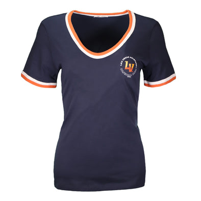 Women's Las Vegas Aviators '47 Brand Left Chest LVABC Bedford Letter Navy Short Sleeve T-Shirt