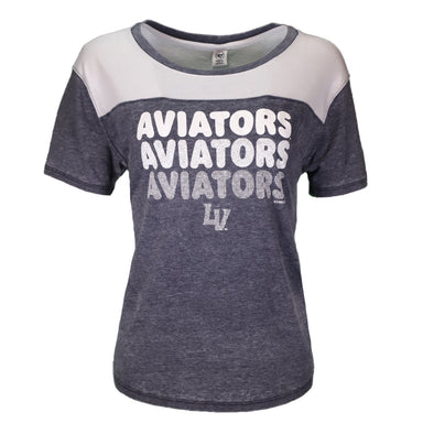 Women's Las Vegas Aviators '47 Brand Fade Out Fling Aviators Repeat Gray/White Short Sleeve T-Shirt