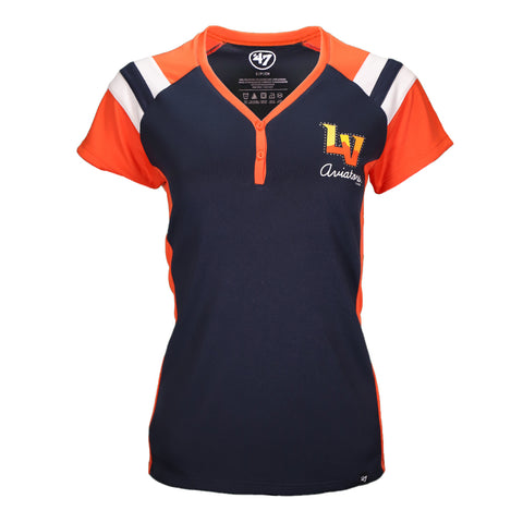 Women's Las Vegas Aviators '47 Brand Left Chest LV Triple Play Henley Navy/Orange Varsity Short Sleeve T-Shirt