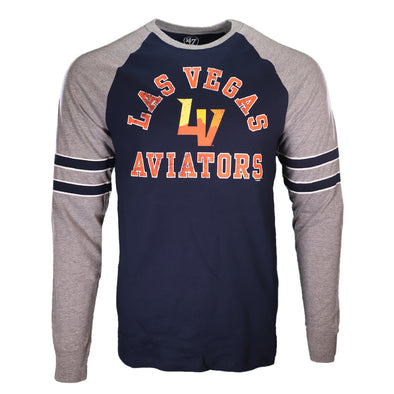 Men's Las Vegas Aviators '47 Brand Las Vegas Aviators Arched LV Match Raglan Navy/Gray Long Sleeve T-Shirt