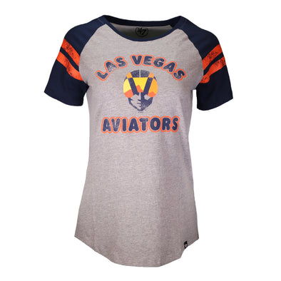 Women's Las Vegas Aviators '47 Brand LVA Aviator Fly Out Fade Gray/Navy Raglan Short Sleeve T-Shirt