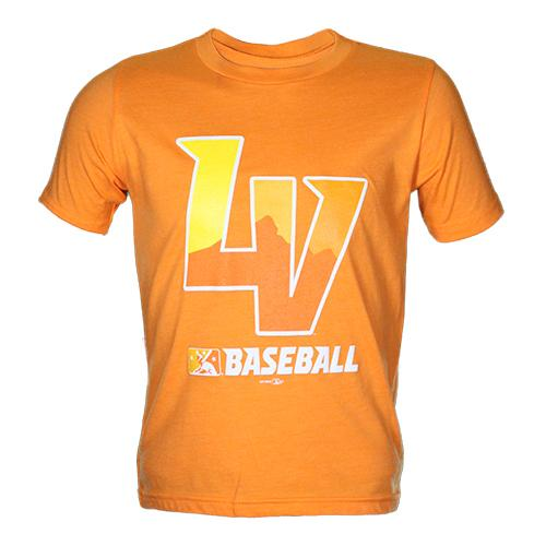 Kids' Las Vegas Aviators Next Level Apparel LV MiLB Baseball Orange Blend Short Sleeve T-Shirt