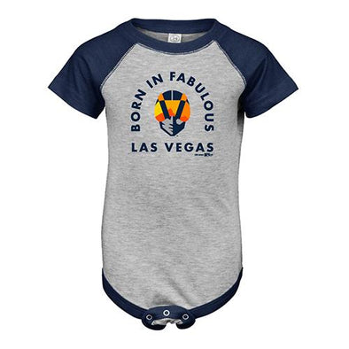 Infants' Las Vegas Aviators LAT Apparel Born in Fabulous Las Vegas Gray/Navy Short Sleeve Onesie