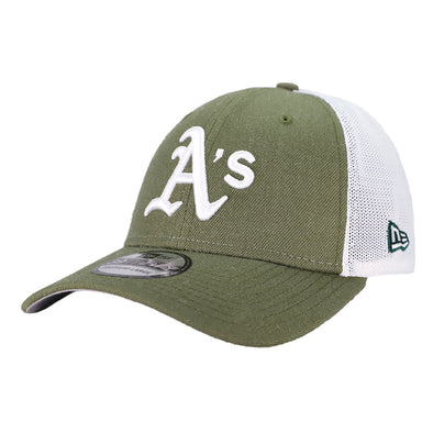 Oakland Athletics New Era A's Logo Turn Trucker Green/White 39Thirty Stretch Fit Hat