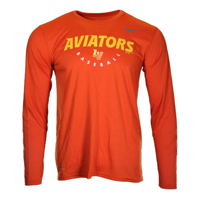Men's Las Vegas Aviators Nike Aviators LV Baseball Orange Dri-Fit Polyester Long Sleeve T-Shirt