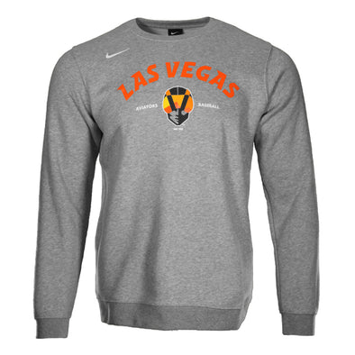 Men's Las Vegas Aviators Nike Las Vegas Arched Aviator Baseball Gray Fleece Crewneck Sweatshirt