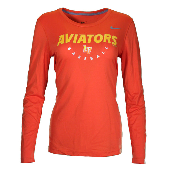 Women's Las Vegas Aviators Nike Aviators LV Baseball Orange Dri-Fit Long Sleeve T-Shirt
