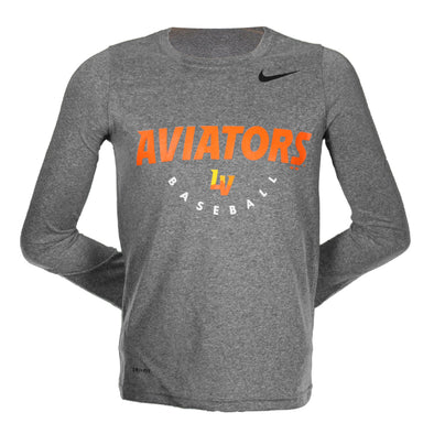 Kids' Las Vegas Aviators Nike Aviators Baseball LV Dri-Fit Gray Polyester Long Sleeve T-Shirt