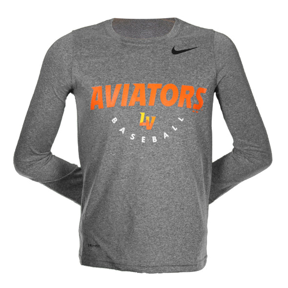 Kids' Las Vegas Aviators Nike Aviators Baseball LV Gray Dri-Fit Long Sleeve T-Shirt