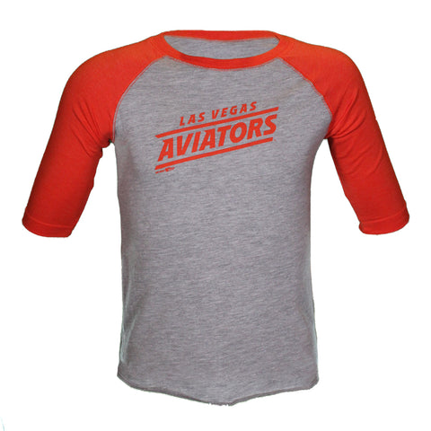 Toddlers' Las Vegas Aviators LAT Apparel Diagonal Las Vegas Aviators Gray/Orange 3/4 Sleeve T-Shirt