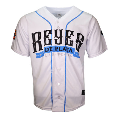 Men's Las Vegas Reyes de Plata OT Sports Home White Replica Jersey