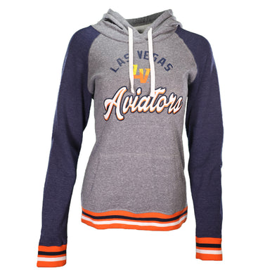 Women's Las Vegas Aviators 5th & Ocean Arched Las Vegas Aviators LV Gray/Navy Raglan Hoodie