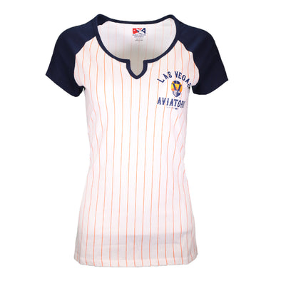 Women's Las Vegas Aviators 5th & Ocean LVA Pinstripe Jersey White/Navy Raglan Short Sleeve T-Shirt