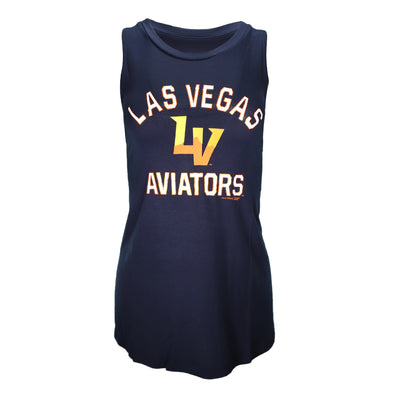 Women's Las Vegas Aviators 5th & Ocean LVA Arched LV Navy Muscle Tank
