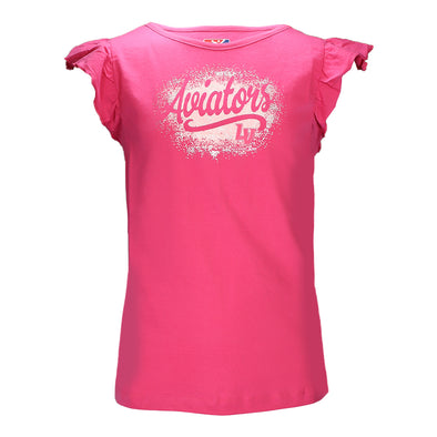 Girls' Las Vegas Aviators 5th & Ocean Aviators LV Baby Jersey Pink Ruffle Sleeves Crew Neck T-Shirt