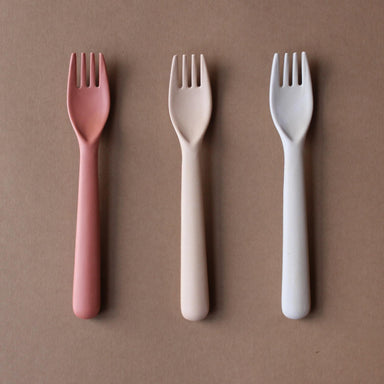 Cink Cink Bamboo Toddler Fork 3 Pack - Fog/Rye/Brick - Pearls & Swines