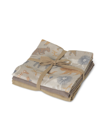 Ferm Living Ferm Living Muslin Squares Set of 3 - Safari - Pearls & Swines