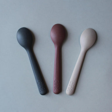 Cink Cink Bamboo Toddler Spoon 3 Pack - Fog/Beet/Ocean - Pearls & Swines