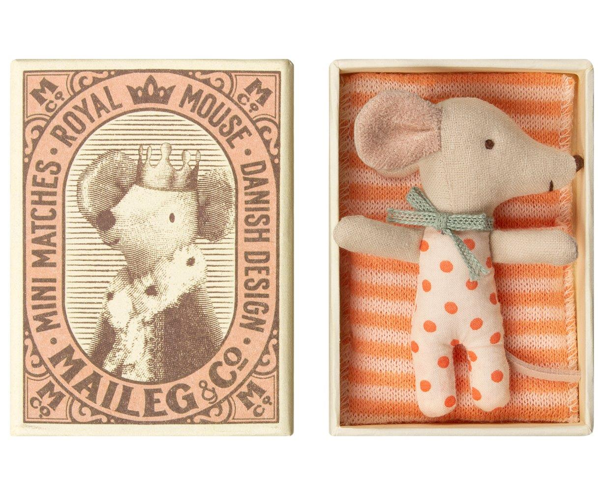 Maileg Maileg Baby Mouse Sleepy/wakey in Box - Girl - Pearls & Swines