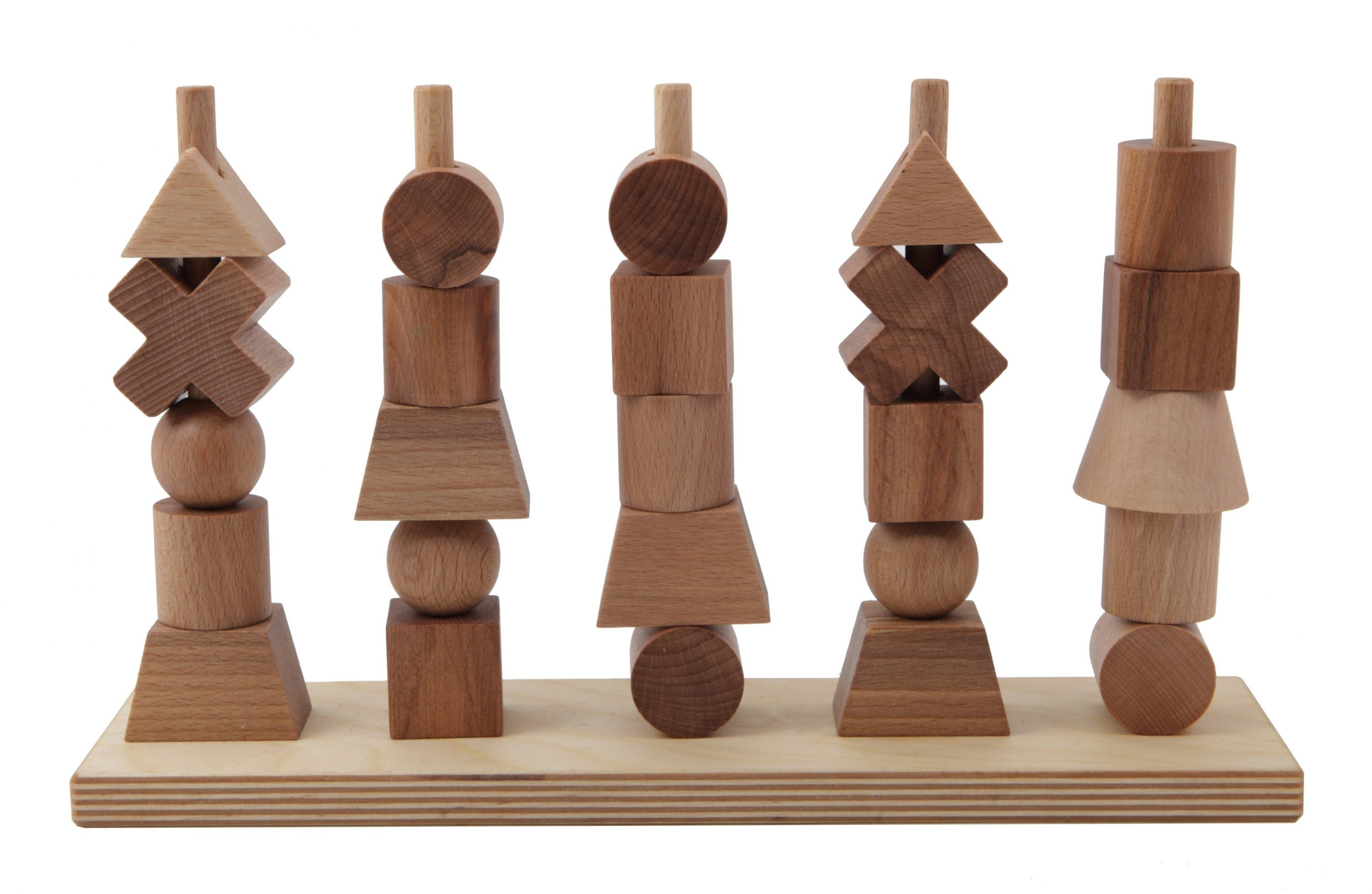 Wooden Story Wooden Story Natural Stacking Toy - Pearls & Swines