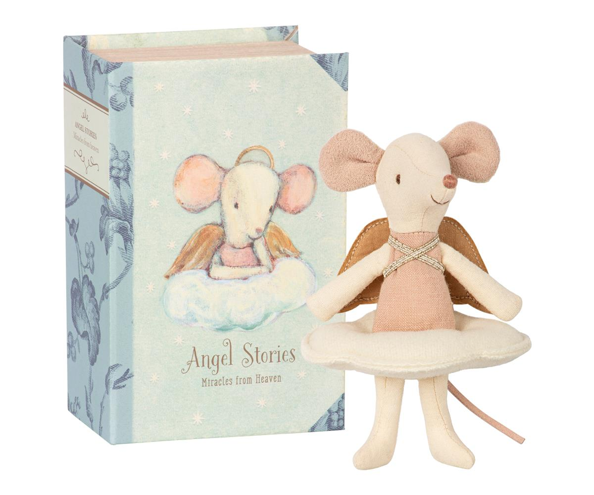 Maileg Maileg Angel Mouse - Big Sister in Book - Pearls & Swines