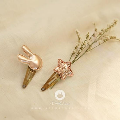 Arim closet Arim Closet Gold Pink Rabbit & Star hair pin - Pearls & Swines