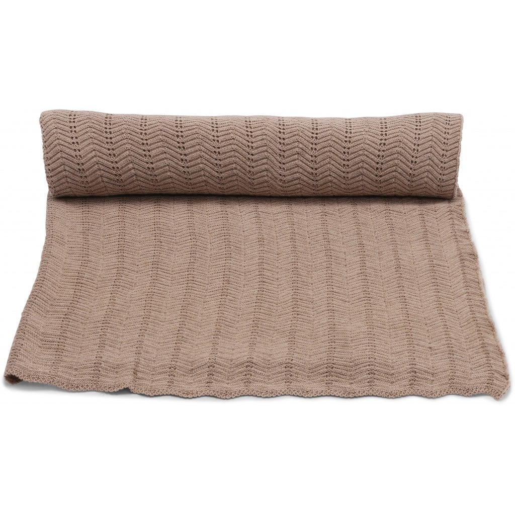 Konges Sløjd Konges Sløjd Blanket Pointelle Deux - Brown melange - Pearls & Swines
