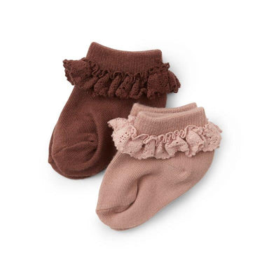 Konges Sløjd Konges Sløjd 2 Pack Frill Socks - Mocca/Rose Blush - Pearls & Swines