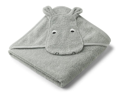 Liewood Liewood Albert Hooded Towel - Hippo Dove Blue - Pearls & Swines