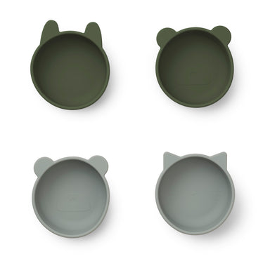 Liewood Liewood Iggy Silicone Bowls 4-Pack - Hunter Green Mix - Pearls & Swines