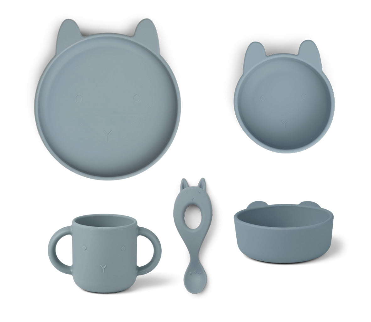 Liewood Liewood Vivi Silicone Set - Rabbit Sea Blue - Pearls & Swines
