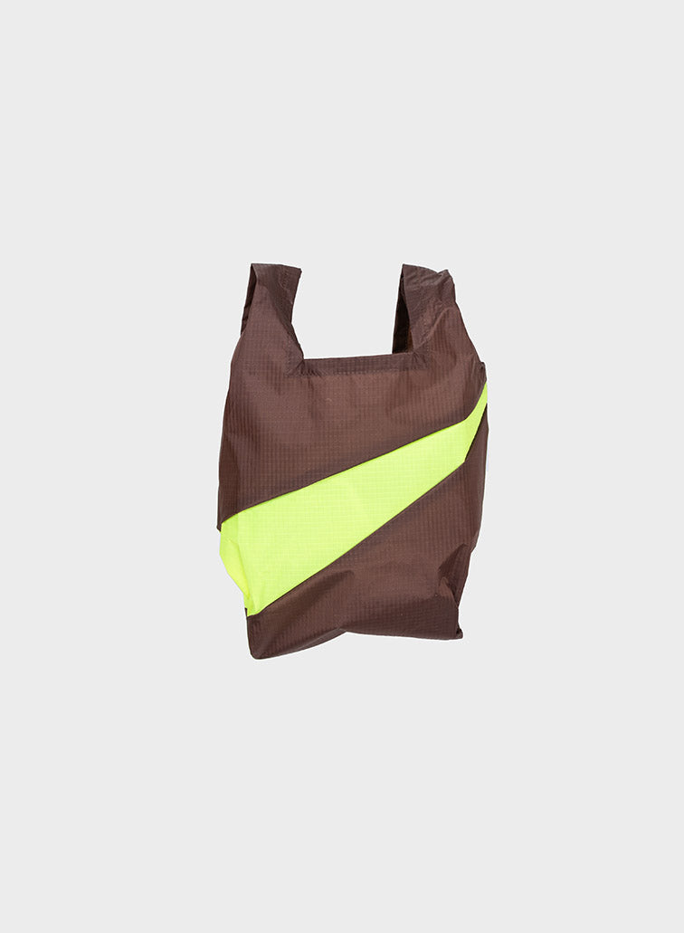 Susan Bijl Susan Bijl Shopping Bag - Brown & Fluo Yellow, S - Pearls & Swines