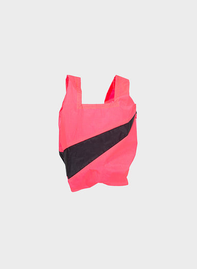 Susan Bijl Susan Bijl Shopping Bag - Fluo Pink & Black, S - Pearls & Swines