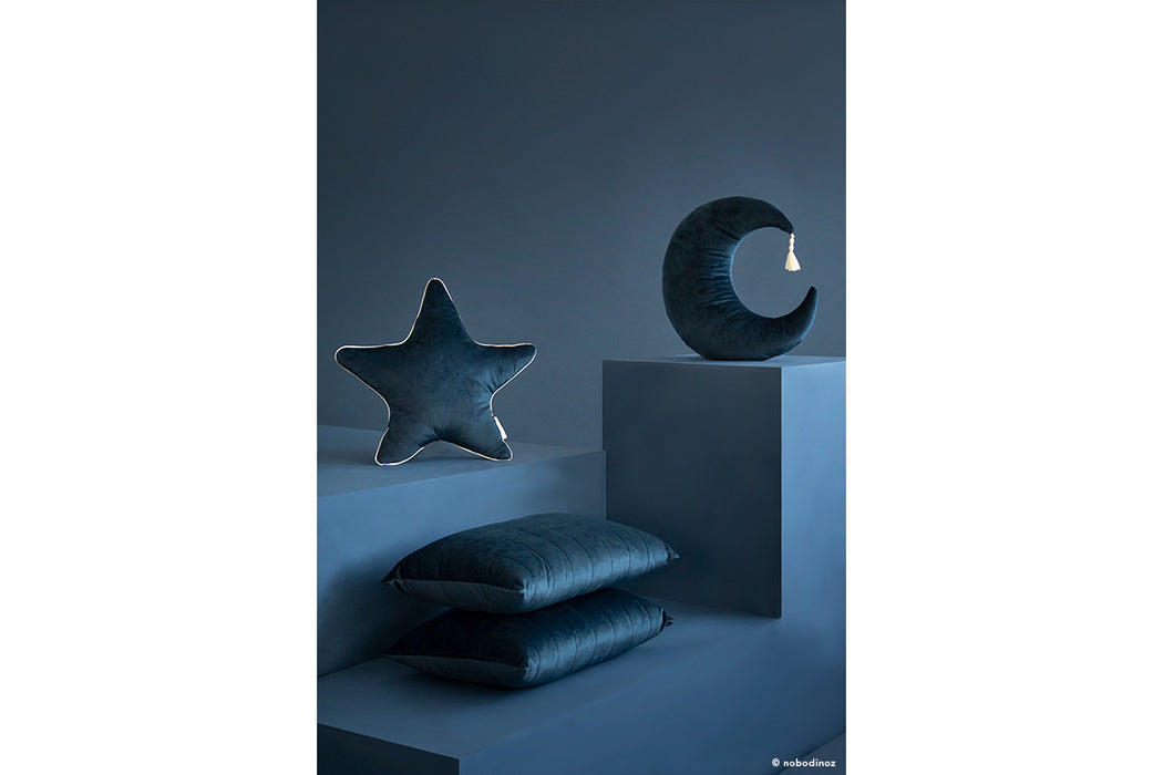 Nobodinoz Nobodinoz Pierrot Moon Velvet Cushion - Night Blue - Pearls & Swines