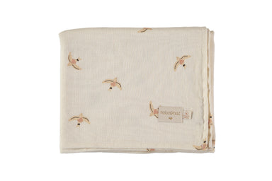 Nobodinoz Nobodinoz Butterfly Swaddle - Nude Haiku Bird - Pearls & Swines