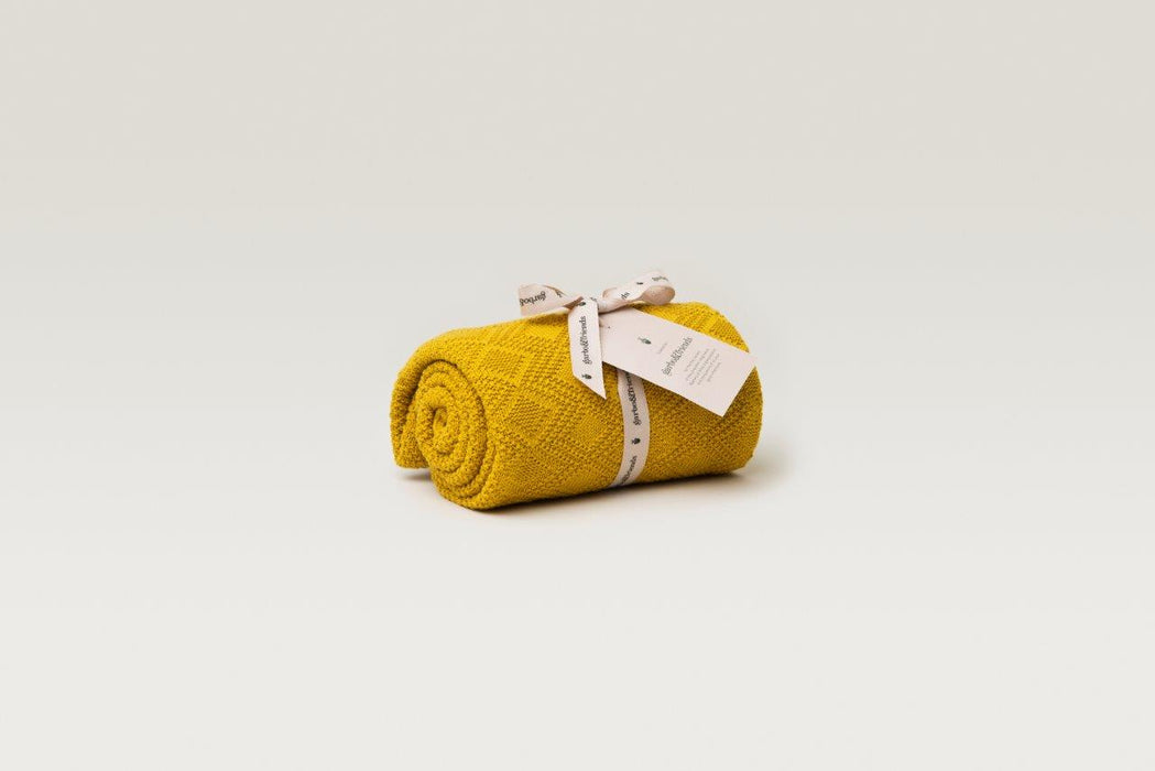 Garbo & Friends Garbo&Friends Ollie Mustard Cotton Blanket - Pearls & Swines